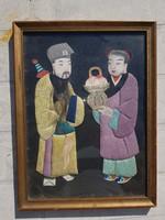 Szamuráj és Szamurájné, öreg festmény textilre, dombormű, egy kis DNS-el...