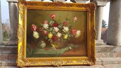 Murin Vilmos: Nívósan restaurált, olaj, vászon - fa 59x77 cm, festmény. Rózsa csendélet. Blondel
