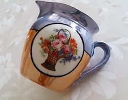 Régi porcelán csupor rózsakosaras eozinos rózsás bögre kiöntő 9 cm