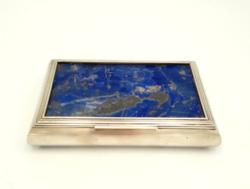 Ajándékozzon nagy ritka ezüst dobozt! lápisz lazuli kővel