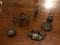 Miniatűr ezüst- több féle , ülőgarnitúra ,kosár, teàs készlet