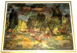 Fischer Ernő - Kert akvarell festmény