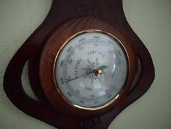 Fali hőmérő barométer bőr keretben 75cm