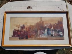 """Várkonyi János olajfestménye, 102x51 cm+keret, üveg mögött, """"Romantikus vár"""""""
