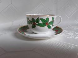 2927-  Karácsonyi teáscsésze aljjal + ajándék karácsonyi terítő
