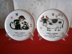 2 db kínai horoszkópos tányér 14 cm átmérő