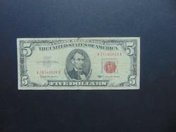 USA 5 dollár 1963 Piros pecsét !
