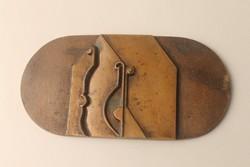 Absztrakt bronz plakett