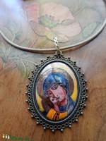Tűzzománc ikon, festett miniatűr, Mária Jézussal