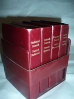 4 db bőrkötésű szótár-készlet