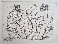Borsos Miklós - Vitatkozók 15 x 20 cm-es rézkarc