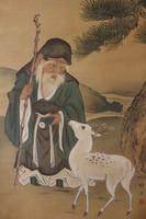 Öregember (FUKUROKUJU) - Japán akvarell festmény falitekercs