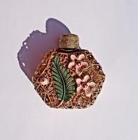 Virágos, aranyozott apró parfümös üveg