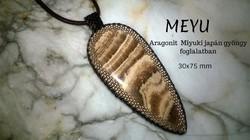 Ásvány ékszer, exkluzív aragonit medál Miyuki japán gyöngy foglalatban