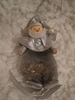 Karácsonyfadísz - fa télapófej - test organza zsákocska, benne cukorka, kicsi trombita 10 x 6 cm