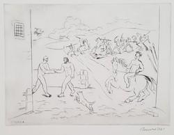Borsos Miklós - Háború 20 x 29 cm-es rézkarca