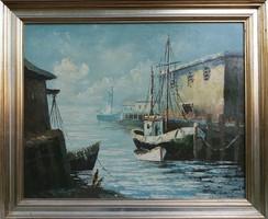 Halászhajók a kikötőben, olajfestmény