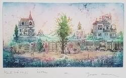 Gross Arnold -  Kertvárosi álom I. 16 x 30 cm színezett rézkarc