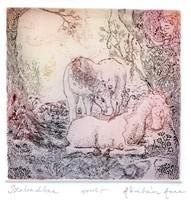 Ábrahám Anna - Szabadban 9 x 9 cm színezett rézkarc