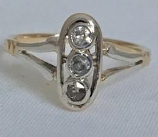 Antik 14 K Arany Art-Deco Gyűrű Gyémánt Bril 0,15 ct