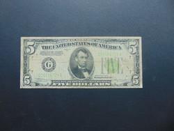 USA 5 dollár 1934 Zöld pecsét !