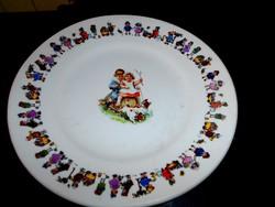 Gyerek mintás antik porcelánfajansz tányér