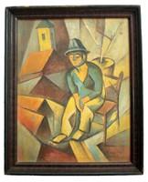 Kmetty János Szentendrei utcán című kubista festménye