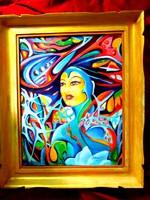 Karneval hercegnő / absztrakt / olaj festmény