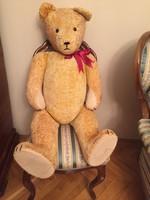 Hatalmas antik mackó, szalmával tömött, egy méteres maci, teddy bear, medve