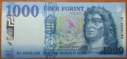 1000 Forint - 2018 DC - UNC - Alacsony sorszám!