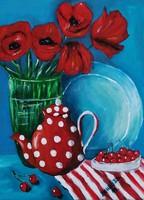 Saját festményem.Címe Csendélet pipacsokkal.Akril festékkel készült kartonra kasírozott vászonra