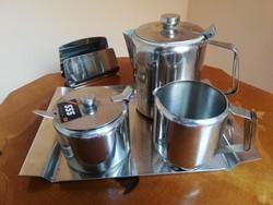 Art deco fém kávés szervírozó szett 5 db-os