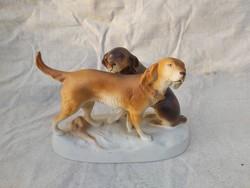 Royal Dux kutyapár, antik, ritka.