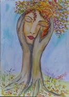 Saját festményem vízfestékkel akvarellpapirra készült.Címe Ősz.Mérete 28 magas  és 21 cm széles.2018