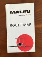 Malév útvonal térkép, járatok térkép, route map