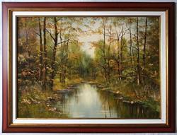 """Benda Zoltán """"Erdei patak"""" c. olajfestmény szép keretben ingyenes házhoz szállítással"""