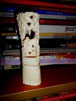 Faragott csont-szép áttört-aprólékos faragvány-lovas erdő részlet
