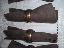 Fém - 4 db - réz - NAGY 6 cm !! vastag - nehéz szalvétagyűrű - úl lenvászon textil szalvéta 44 x 44