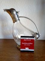 Artina kacsás kancsó üvegből ón díszítéssel
