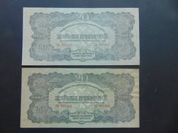 2 darab VH. 20 pengő 1944 Sorszámkövető szép bankjegyek !!!