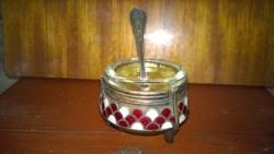 Orosz zománcdíszes kaviártartó-fűszertartó üvegbetéttel kanállal kompl.-egy kis ékszer az aszton