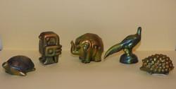 Régi Zsolnay eozin-mázas Art-Deco figurák, eredeti, jelzett darabok!