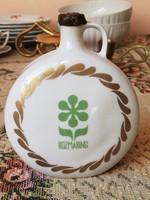 Antik Hollóházi rozmaring gyógynövényes porcelán butella