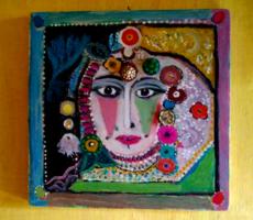 Egzotikus leány portré / absztrakt / Seri Kata festménye