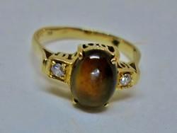 Csodálatos antik opál és gyémánt 18kt arany gyűrű