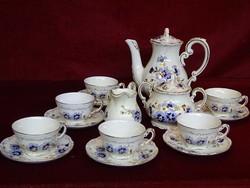 Zsolnay porcelán 9335/059 számú, búzavirág mintás kávéskészlet. 9 darabos.