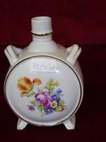 Kispesti porcelángyár, antik kulacs, virágmintás, vitrin minőség, 11 cm. magas.