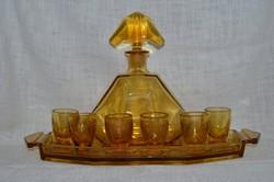 Borostyán színű üveg likőrös készlet  ( DBZ 0053 )