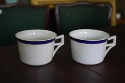 Kék, arany csíkozású porcelán bögrék