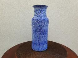 Retro repesztett mázas kerámia régi kék váza